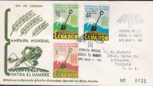 Ecuador 1963 Scott C398-C400 Airs  Food Agricultural Org Freedom From Hunger FDC