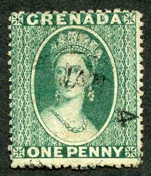 Grenada SG16 1d green Wmk small Star Intermediate perf 15 Cat 50 pounds