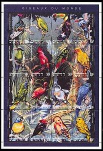 Mali 716, MNH, Birds of the World miniature sheet of 16