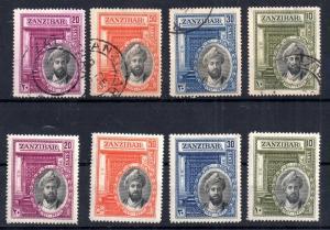 Zanzibar 1936 Silver Jubilee mint LHM & VFU sets SG323-326 WS11752