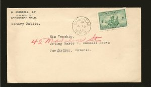 Canada 282 on Postmarked 1949 Carbonear NFLD Cover With Letter Used