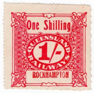 (I.B) Australia - Queensland Railways : Parcel Stamp 1/- (Rockhampton) inv wmk