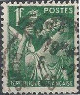 France 377 (used) 1fr Iris, green (1939)