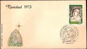 URY-132 URUGUAY 1973 CHRISTMAS,RELIGION FDC