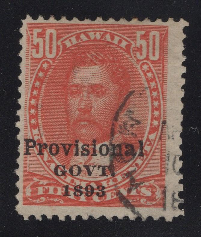 Hawaii #48 Red - Partial Date Stamp Cancel