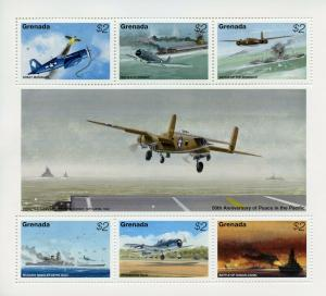 Grenada 1995 MNH WWII WW2 VJ Day Peace in Pacific 6v M/S Aviation Stamps