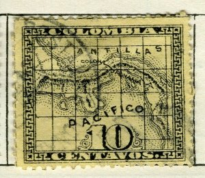 PANAMA; 1887 early Map issue fine used 10c. value