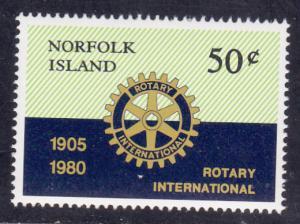 Norfolk Isl. # 255, Rotary International, Mint NH 1/2 Cat.