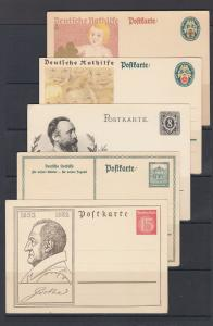 Germany Mi P208/P214 unused. 1928-32 Postal cards, 5 different, sound, F-VF.