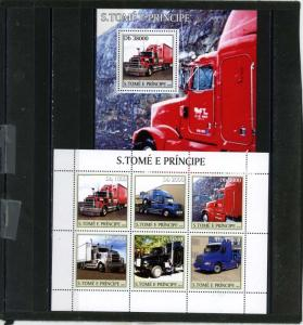 ST.THOMAS & PRINCE ISLANDS 2003 TRUCKS SHEET OF 6 STAMPS & S/S MNH