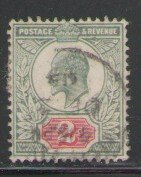 Great Britain Sc 130 1902 2d yellow green & carmine Edward VII stamp used