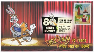 20-204, 2020, SC 5496, Bugs Bunny, First Day Cover, Digital Color Postmark, 80th