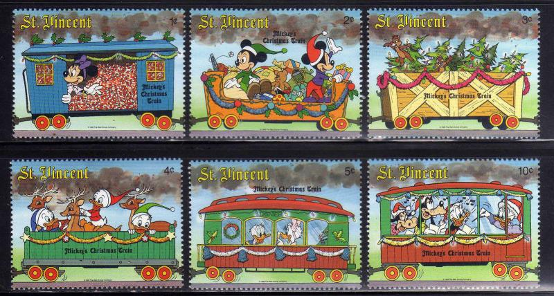 st vincent 1988 christmas trains disney transport art stamps 13 sc 1121 - Disney Christmas Train