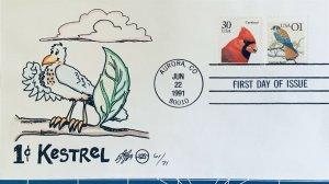 Steve Wilson Hand Painted 2476 American Kestrel with Cardinal Buddy Aurora Colo