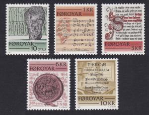 Faroe Is. Historic Writing of the Faroes 5v SG#64-68 SC#65-69