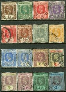 EDW1949SELL : LEEWARD ISLANDS 1921-32 Scott #61-77 Cplt VF, Used Choice Cat $226