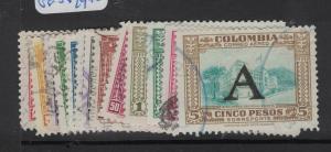 Colombia 1950 A/M Set 16 Values 5c To 5P VFU (4dvy)