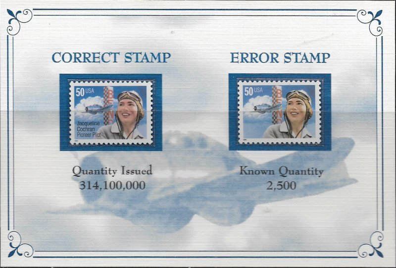 USA  3066A MNH ERROR JACQUELINE COCHRAN, BLACK OMITTED CAT VAL. $45.00