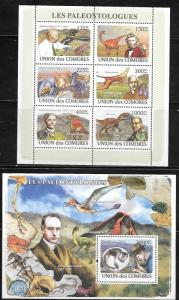 Comoro Islands 1043-44 Dinosaurs and Paleontologists Mint NH
