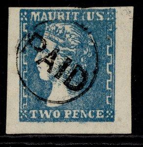 MAURITIUS QV SG43, 2d slate-blue, FINE USED. Cat £900.