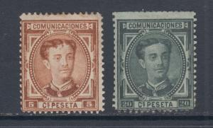 Spain Sc 222, 224 MNG. 1876 5c & 20c King Alfonso XII definitives, sound