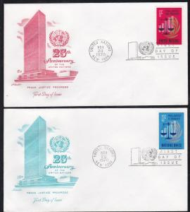 U.N. - New York # 213-214, Peace & Justice, First Day Covers