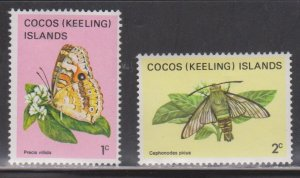 COCOS (KEELING) ISLANDS Scott # 87-8 MH - Butterfly & Moth