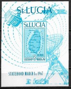 1967 St Lucia C1 Statehood imperf souvenir sheet MNH SCV$50.00