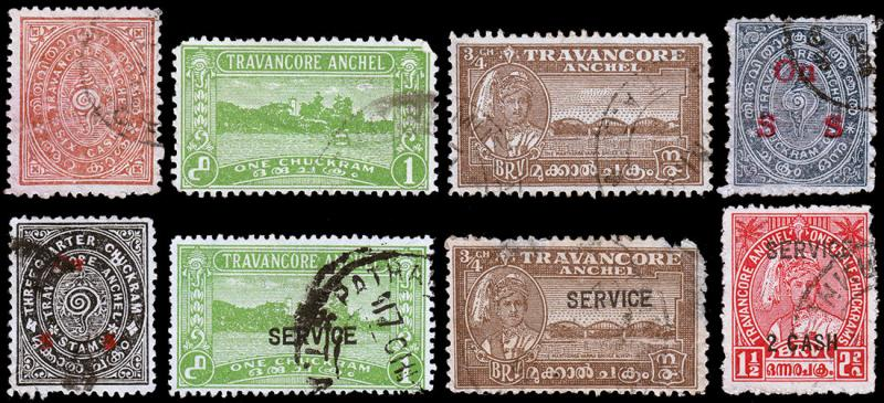 India - Travancore Scott 13 // 44, O1 // O57 (1908-45 ) Used H G-F-VF