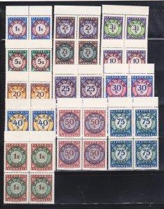 Indonesia J1-J13 Blocks Of 4 Set MNH Numerals (C)