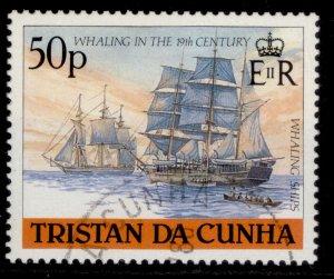 TRISTAN DA CUNHA QEII SG455, 50p whaling ships, FINE USED.