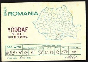 QSL QSO RADIO CARD Map of Romania,YO9DAF, Nelu, Alexandria, Romania (Q2687)