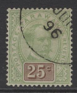 SARAWAK SG18 1888 25c GREEN & BROWN FINE USED