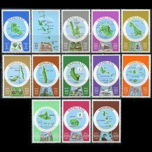 VANUATU 1980 - Scott# 280a-92a Maps in French Set of 13 NH