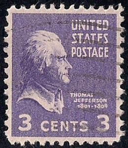 807 3 cent Thomas Jefferson Stamp used EGRADED SUPERB 99 XXF