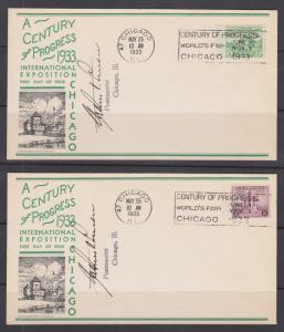 US Sc 728-729 FDC. 1931 Cenury of Progress, Dearborn Engraving Co cachet, signed