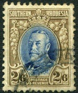 SOUTHERN RHODESIA-1933 2/6 Blue & Drab Perf 11½ Sg 26a GOOD USED V35955