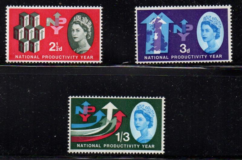 Great Britain Sc 387p-9p 1962 Productivity Year Phosphor stamp set mint NH