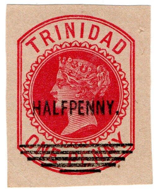 (I.B) Trinidad & Tobago Postal : Stationery Die ½d on 1d OP