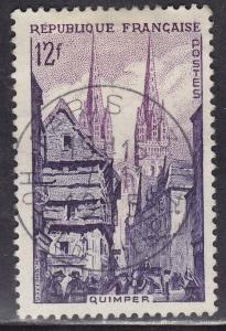 France 722 Street Corner in Quimper 12Fr 1954