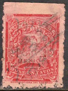 MEXICO 614, 10cents Pres. Madero. ROULETTED, USED. F-VF. (370)