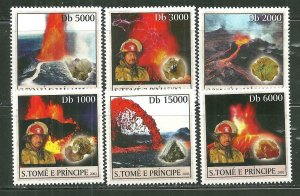 St. Thomas & Prince Islands MNH 1469A-f Volcanoes Minerals Firemen SCV 9.00