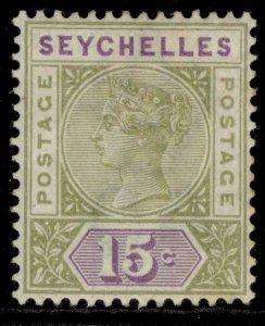 SEYCHELLES QV SG24, 15c sage-green & lilac, M MINT. Cat £10.