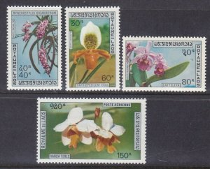 Laos 230-32 & C89 MNH 1972 Orchids Full Set with Airmail Issue VF