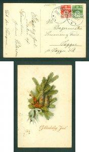 Denmark. Christmas Card 1926. 10 +2 Ore.Christm.Decoration.Cancel: Bronderslev.