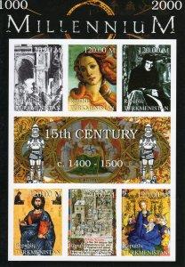 Turkmenistan 1999 Boticelli-Lochner-The Deesis Millennium 15th.Cent.Shlt IMPERF.