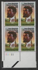 US, 2249, MNH, PLATE BLOCK, 1987, BLACK HERITAGE SERIES