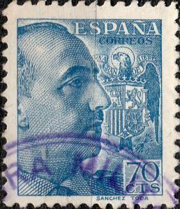 ESPAGNE / SPAIN - 1939 - Ed.874/Mi.835 70c cancelled by Military Censor Mark