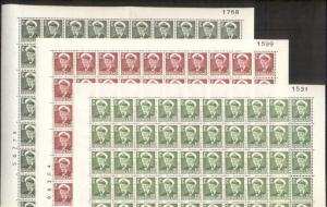 GREENLAND #28-32,34 1ore//30ore Fred IX, Complete sheets of 100, NH, Scott $480+