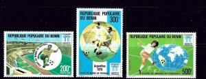 Benin 397-99 MNH 1978 Soccer